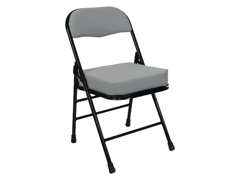 black steel tube chair with light gray padding on seat and back