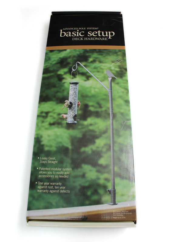 box for pole set with picture of bird feeder on front