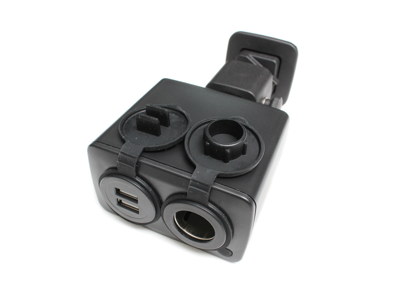 black usb charger open
