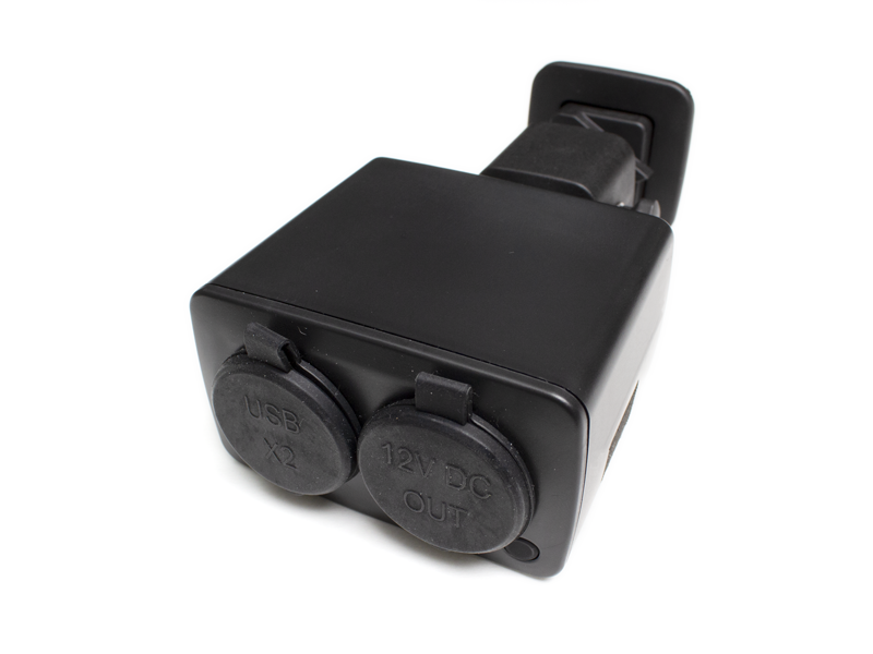 black usb charger with lids closed
