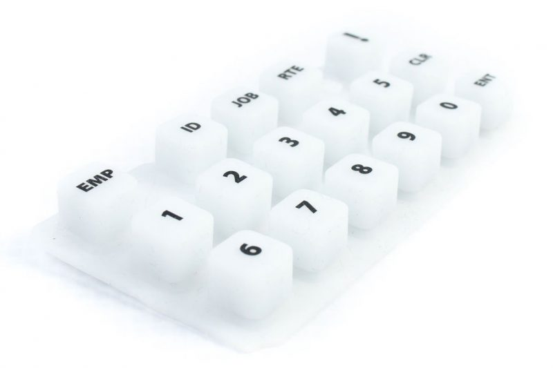 close up of silicone key pad