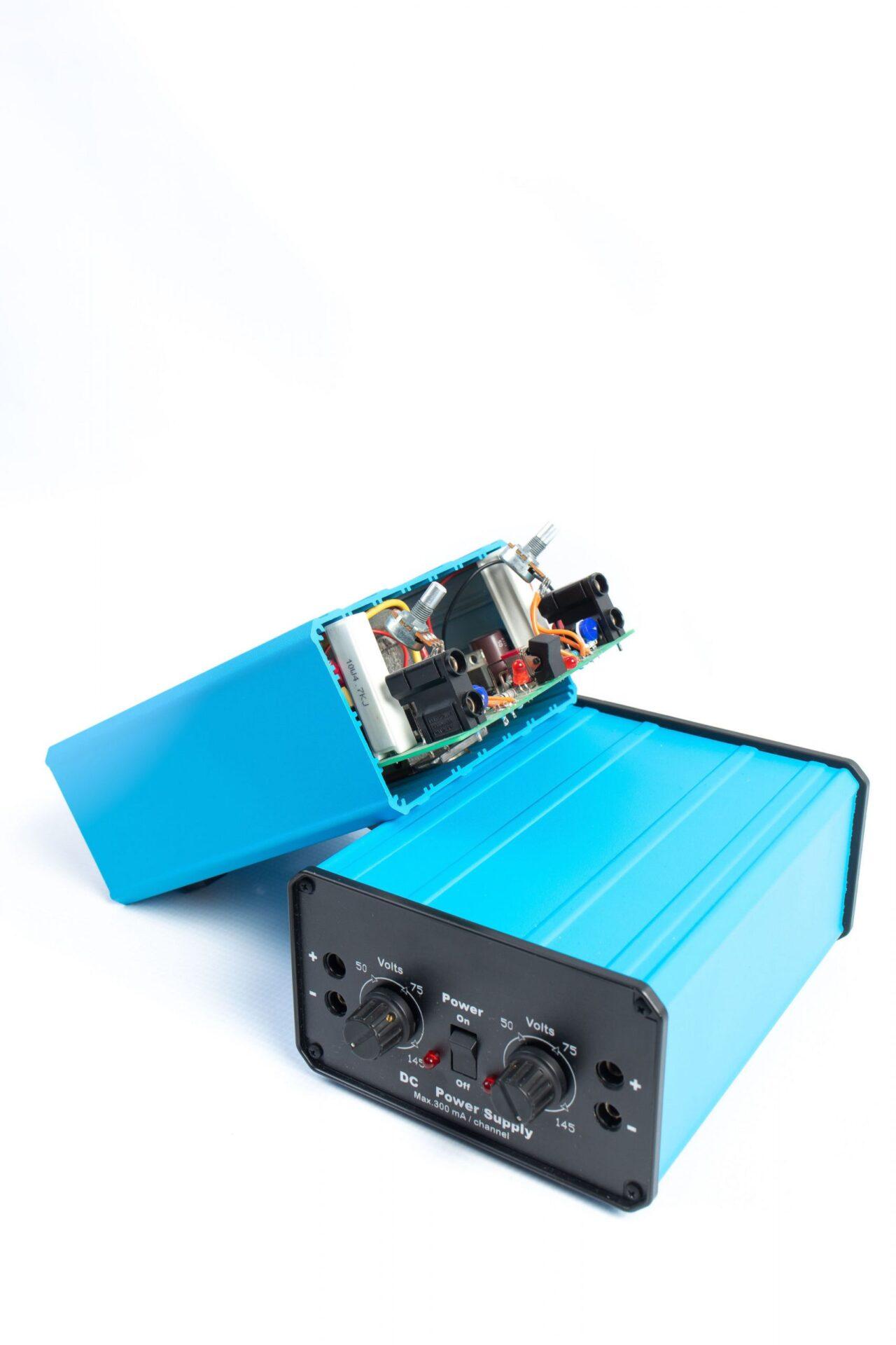 bright blue electronic box