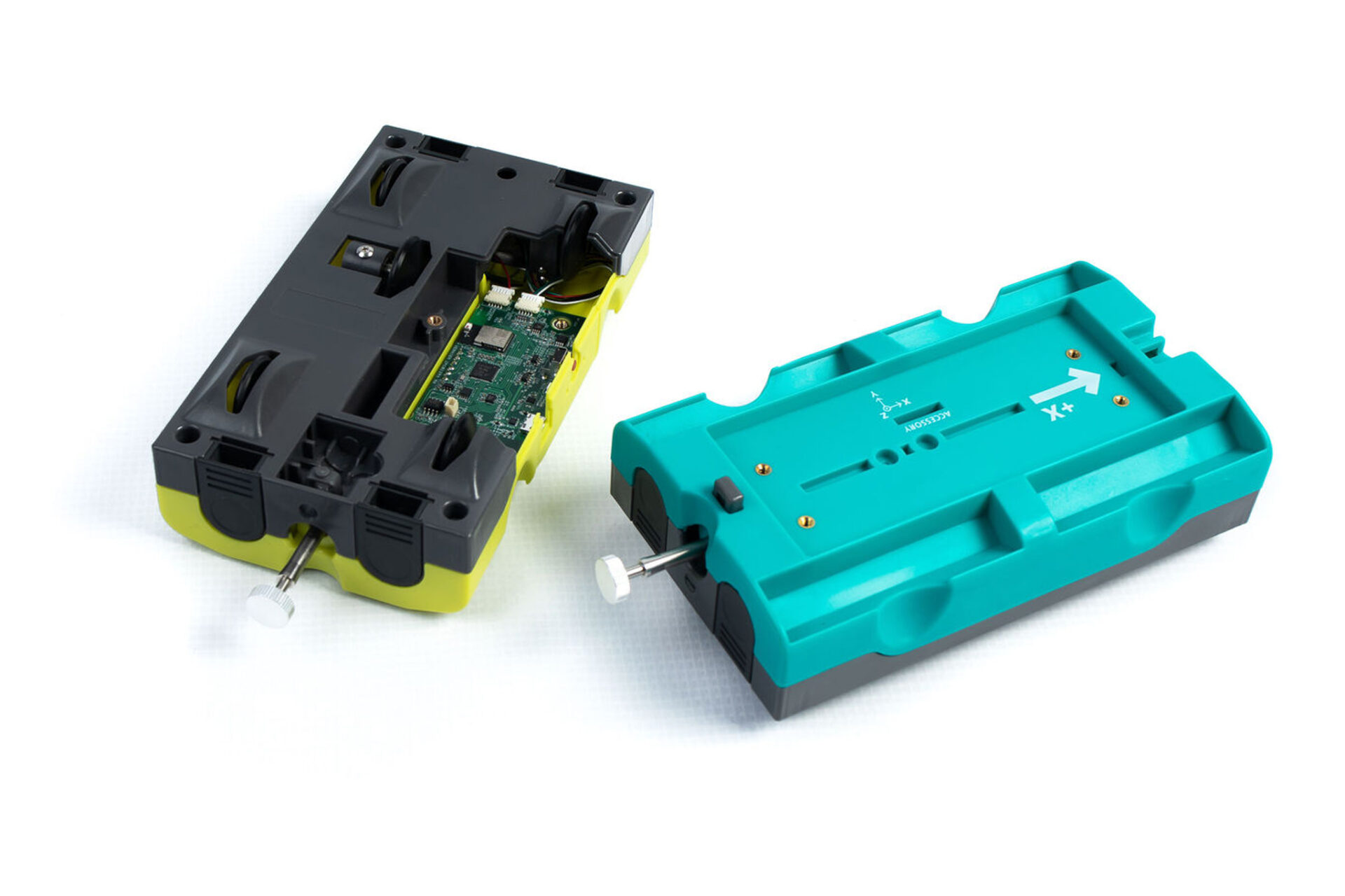 neon yellow and bright turquoise plastic smart dynamics carts