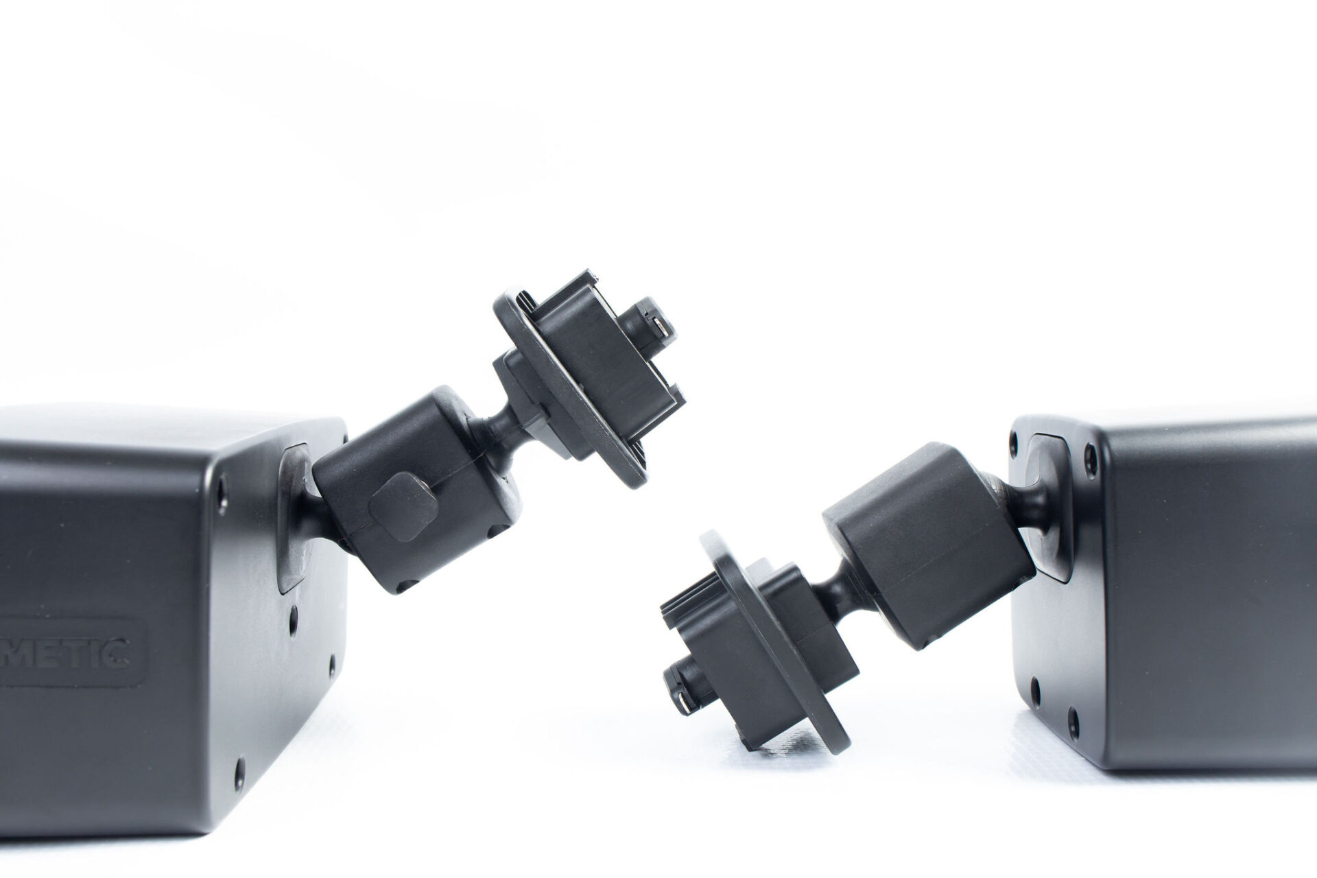 black plastic mounting devices