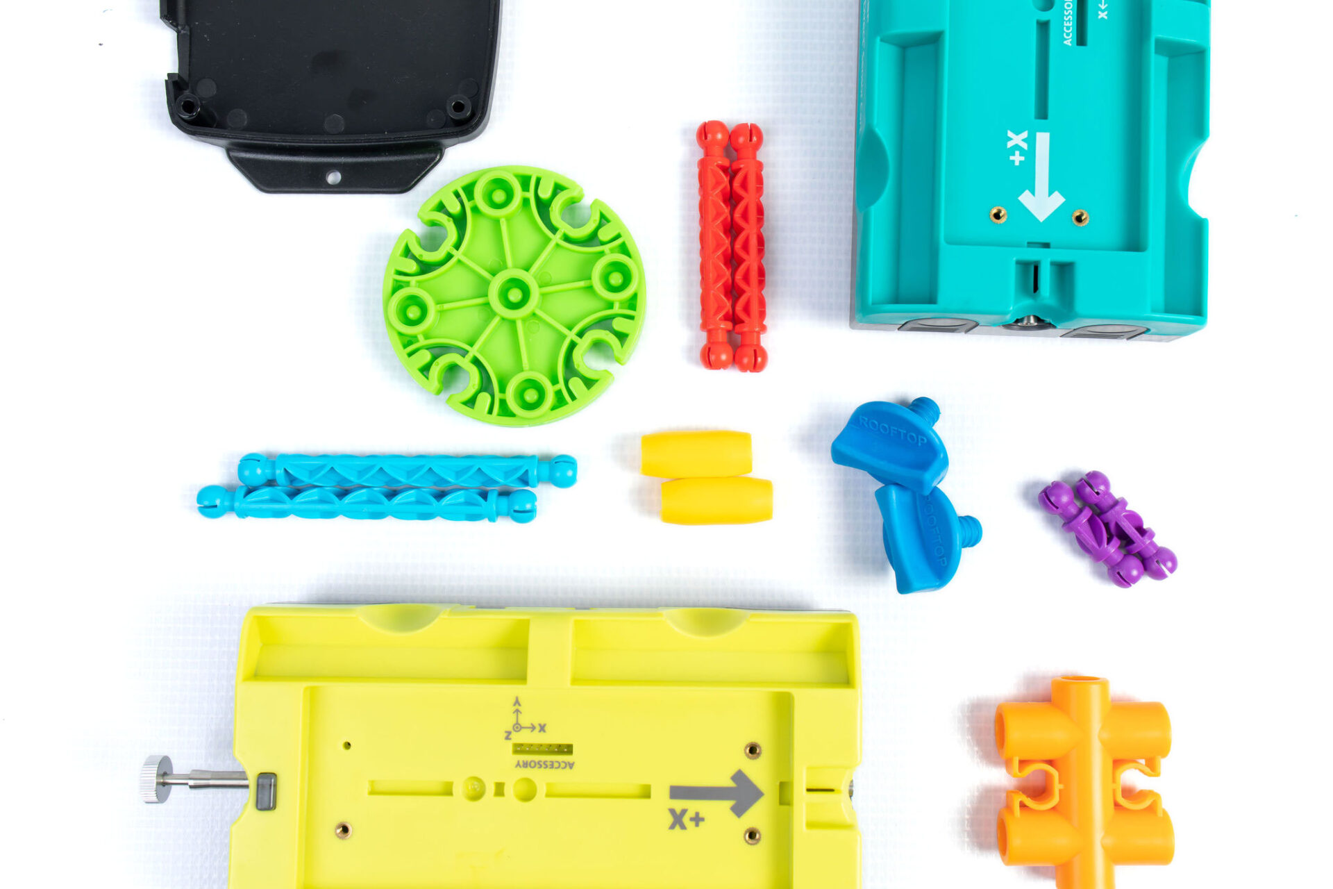miscellaneous colorful plastic parts and pieces