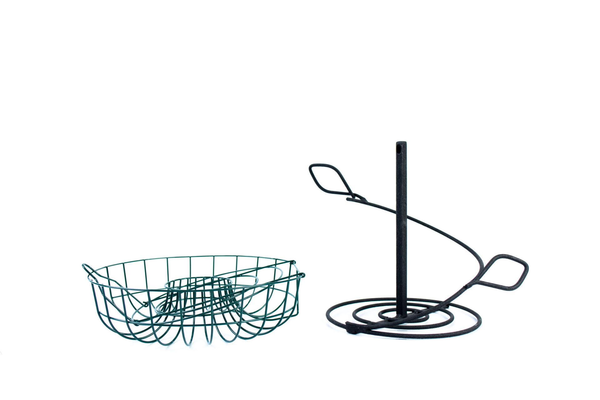 green metal wire basket and black metal parts