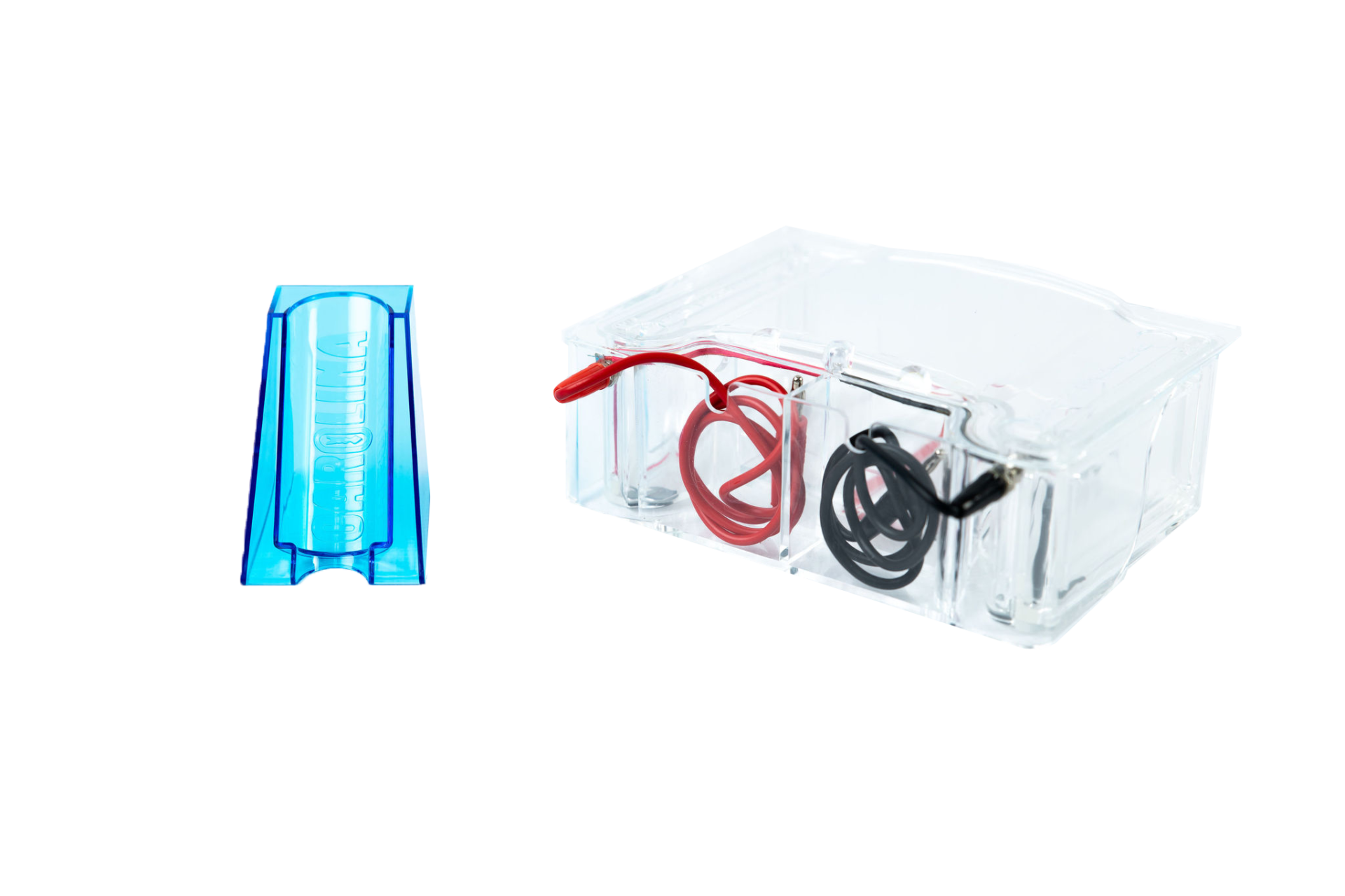 blue and clear plastic parts